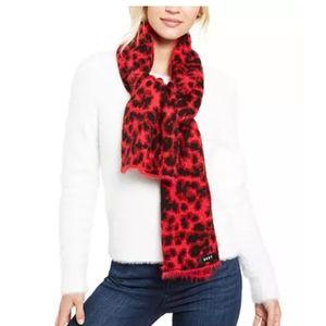 DKNY Fuzzy Animal Print Knit Scarf
